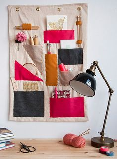 DIY Craft Room Ideas and Craft Room Organization Projects -  Scrap Fabric Wall Organizer  - Cool Ideas for Do It Yourself Craft Storage - fabric, paper, pens, creative tools, crafts supplies and sewing notions |   http://diyjoy.com/craft-room-organization