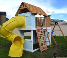 Get your kids playing outdoor by building a backyard swing set. Here's a collection of 34 free DIY swing set plans for you to get some ideas. Kids Playhouse Plans, Backyard Playhouse, Build A Playhouse, Playhouse With Slide, Girls Playhouse, Kids Indoor Playground, Kids Outdoor Play, Kids Play Area, Children Playground