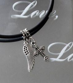 Silver Angel Wing Necklace Cross Heart Charm Silver by BijiBijoux, https://www.etsy.com/listing/168241606/silver-angel-wing-necklace-cross-heart