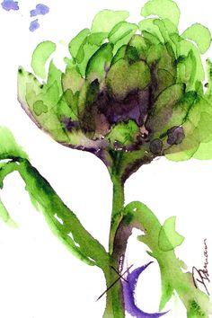 Artichoke Painting by Dawn Derman