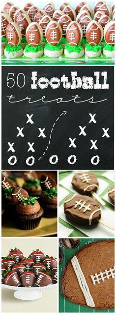 50 Sweet Football Treats www.somethingswan… 50 Sweet Football Treats www. Football Desserts, Football Treats, Football Food, Football Parties, Football Cakes, Football Banquet, Tailgate Parties, Fox Football, Little League Football