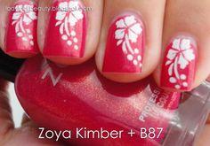 Hawaiian Nails with Zoya Kimber - Video Tutorial ~ LadyLuck Beauty - beautyideaz Nail Polish Designs, Cute Nail Designs, Fabulous Nails, Gorgeous Nails, Cute Nails, Pretty Nails, Hawaiian Nails, May Nails, Vacation Nails