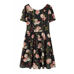 LUCLUC Cut Out Floral print Scoop Chiffon Skater Dress (26 CAD) ❤ liked on Polyvore featuring dresses, bodycon dress, cocktail dresses, evening maxi dresses, holiday dresses and evening dresses