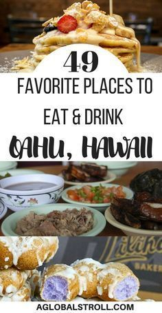49 Favorite Places to Eat And Drink On Oahu, Hawaii Looking for the best places to eat in Hawaii? Here are 49 of the best spots to eat and drink on Oahu, Hawaii! Mahalo Hawaii, Honolulu Hawaii, Hawaii 2017, Waikiki Beach, Backpacking Europe, Bora Bora, Belfast, Belize, Oahu Restaurants