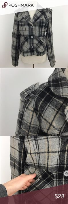 "Wool Blend Black Gray Plaid Jacket Black Gray Plaid with small amount of brown. Black lining. Two front pockets, button tab at cuffs and on shoulders.  Size large, Sleeve length 35"" Armpit to armpit 21"" Length 22""  #jacket #vintage #wool #sizelarge #rachelboncek Jackets & Coats Pea Coats"