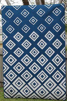 Navy Diamonds in the Deep by Kristy. Limited color palette, alternative layout that creates visual interest.
