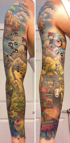 Studio Ghibli Full Sleeve Tattoo