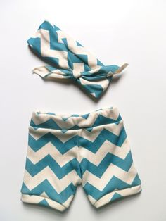 Baby Girl Clothing, Peacock Chevron Booty Bloomer Shorts and Headband Set, Newborn Photo Prop by Little Hip Squeaks. $33.65, via Etsy.