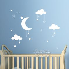Baby Nursery Clouds Stars Wall Sticker Moon Clouds Wall Decal Kids Room Decor Easy Wall Art  sc 1 st  Pinterest & Fluffy Cloud Wall Decals Cloud Decal White Cloud Wall Stickers ...