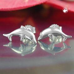 Stecker, springender Delfin Silber 925