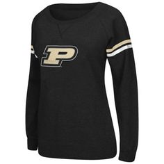 Purdue Boilermakers Womens Vegas Boat Neck Pullover Fleece Sweatshirt – Black