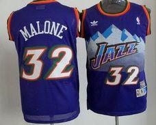¥21 Utah Jazz #32 Karl Malone Mountain Purple Hardwood Classics Soul Swingman Throwback Stitched Jersey