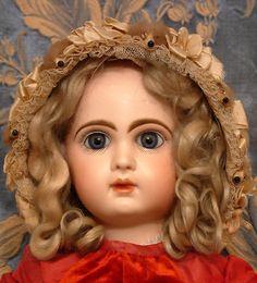 Super Antique Silk Bonnet w Five Fur Mole Heads Mohair Wig 4 French Germ Doll | eBay