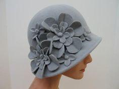Grey flower bucket hat !!