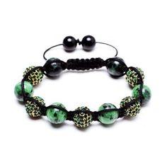 Amazon.com: Emerald Green shamballa inspired bracelet | green shamballa bracelet | Cubic Zirconium crystal disco beads (by BAGATI CRYSTO): Jewelry