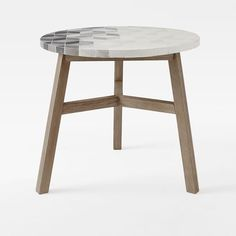 "WEST Elm - Mosaic Tiled Bistro Table - Isometric Concrete Top + Driftwood Base - 32.5""DIA x 28""H - $399"