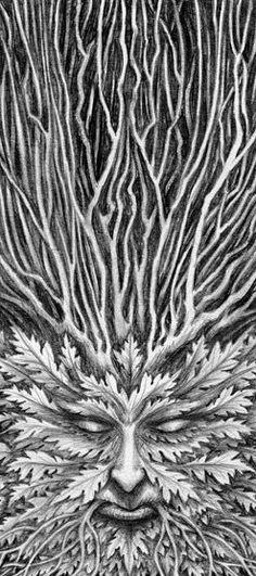 """Green Man Sketch"" The Fantasy Art of Marc Potts Face paint Man Sketch, Tree Woman, Pagan Art, Nature Spirits, Gods And Goddesses, Mythical Creatures, Amazing Art, Fantasy Art, Cool Art"