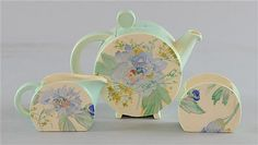 Clarice Cliff bonjour shape bachelor tea service, peony pattern - marked with Wilkinson, Royal Staffordshire mark ♥❦♥