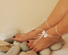 White Bow With silvery flower barefoot sandals, Toe thong Bottomless shoes, Foot jewelry, Wedding Shoes, bellydance barefoot sandal #freeshipping #handmade #UniqueHandmade #woman #gifts #present #sale #coupons #mom #gifts #trends #girl