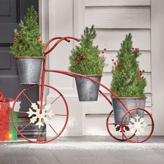 Three round galvanized metal bucket planters on a tricycle frame (plants not included). Metal with hand-painted finish.