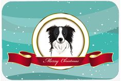 Border Collie Merry Christmas Glass Cutting Board