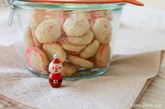 gift idea: instead of a plate of cookies, make tiny cookie press cookies and gift in little 10 oz. weck jar.