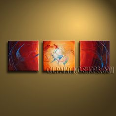 Stunning Modern Abstract Painting Hand Painted Oil Painting Gallery Stretched Abstract. This 3 panels canvas wall art is hand painted by Bo Yi Art Studio, instock - $133. To see more, visit OilPaintingShops.com