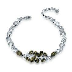 Bracelet en cristal (Vert-de-gris)  Description: Bracelet exquis en alliage plaqué or blanc, serti de cristaux vert-de-gris et transparents au centre. Ce bijou simple et brillant va parfaitement à votre élégance en toute occasion.
