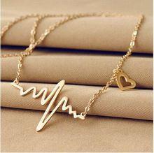 N1057 2016 nova moda bijuterias titanium aço 18 k banhado a ouro coração ecg clavícula gargantilha colar pingente(China (Mainland))