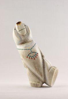 Hand Carved Elk Antler Walking Bear Zuni Fetish