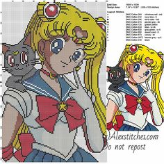 Sailor Moon with black cat free cartoons cross stitch pattern 11 colors - free cross stitch patterns by Alex Kawaii Cross Stitch, Geek Cross Stitch, Beaded Cross Stitch, Crochet Cross, Cross Stitch Charts, Cross Stitch Designs, Cross Stitch Embroidery, Cross Stitch Patterns, Embroidery Patterns