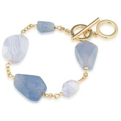 Carolee Light Blue South Street Seaport Flex Bracelet ($75) ❤ liked on Polyvore featuring jewelry, bracelets, light blue, chains jewelry, light blue jewelry, carolee, lace jewelry and charm bangle