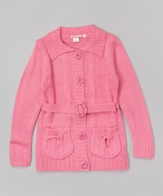 Look at this Pink Belted Cardigan - Toddler & Girls on #zulily today!