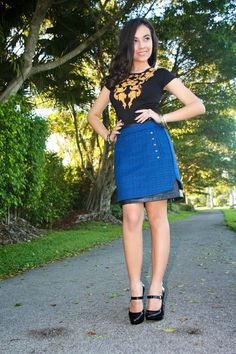 Blue skirt  and black peplum top. Mary Jane shoes from Michael  stylishlyinlove.blogspot.com