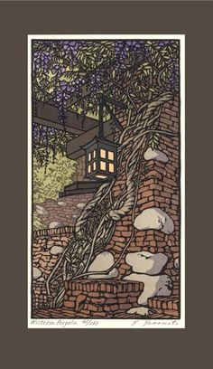 The Arts and Crafts Press - block prints Wisteria Pergoa by Yoshiko Yamamoto. Duncan Irwin House designed by Greene and Greene