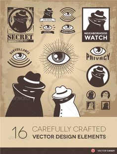 Buy Surveillance and Privacy by VectorCandy on GraphicRiver. Sketchy Criminal, Surveillance Agent, and Privacy Spy Vector Illustration of a sketchy criminal, secret spy, governme. Vector Design, Graphic Design, Eye Logo, Self Branding, Eye Painting, Branding Materials, Jordan Logo, Color Swatches, Cool Logo
