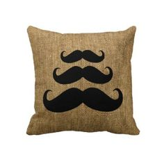Amazon.com: Three Mustaches on Burlap (Photo) Pattern Cute Pillow Cover 18x18 , Pillow Cases , Decorative Throw Pillow Covers , Cushion Covers: Home & Kitchen