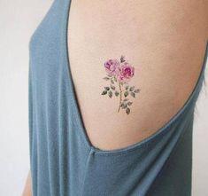 Traditional Pink Rose Rib Tattoo Ideas for Women - Watercolor Vintage Floral Flower Small Side Tat -pequeñas ideas rosadas del tatuaje de la costilla rosada - www.MyBodiArt.com # tattoos