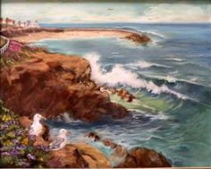 """An oil of the Childlrens', seal pool. It is called """"Seagull Take Over""""."""