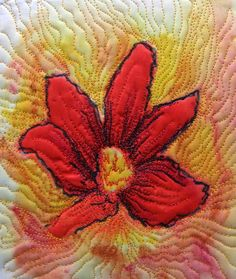 Red flower - fabric painted using Inktense blocks and pencils prior to quilting