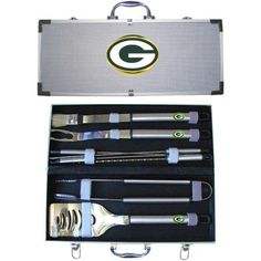 NFL 8-Piece BBQ Set with Hard Case, Green Bay Packers, Multicolor