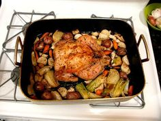 Thomas Keller's Roast Chicken with Root Vegetables.