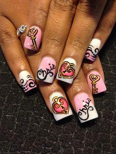 The Key To My Heart Nail Art  #nailart #nails #cutenails