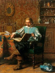 "Lambertus Lingeman 1871 ""A Cavalrist reading in a 17th century interior"" ♥"