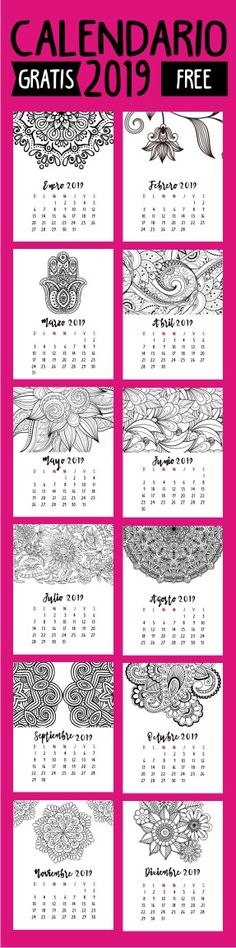 Calendario 2019 para Colorear | 2019 Calendar Keep It Cleaner, Free Printables, Doodles, Dots, Bullet Journal, Invitations, Templates, Crafts, Craft