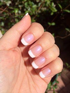 Gel Nails: Opal basecoat, White tips