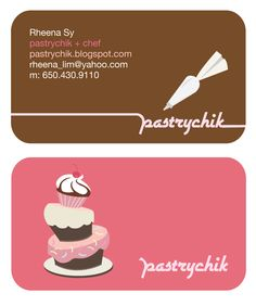 Cute business card bitecutout bakery pink cake pinterest bakery business cards 20 examples of pastry shop business cards reheart Images
