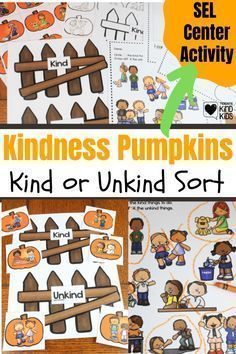 Use this kindness pumpkins hands-on activity from Coffee and Carpool to help students decide what is kind and what is not kind in this SEL curriculum sort. These games are visually fun and help them think through those social skills.
