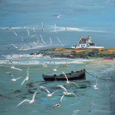Christian Sanséau ... peintre de la mer ! Watercolor Landscape, Landscape Art, Landscape Paintings, Boat Art, South African Artists, Boat Painting, European Paintings, Seascape Paintings, Art Techniques