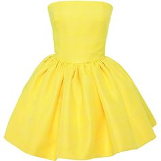 Martin Grant Gathered Bustier Dress (2.445 BRL) ❤ liked on Polyvore featuring dresses, shirred dress, bustier mini dress, structured dress, yellow dress en short yellow dress